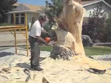 Искусство резьбы по дереву...бензопилой.Мастер класс.