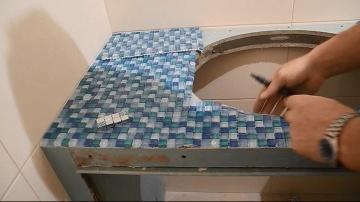 Делаем столешницу из мозаики под умывальник ч.3