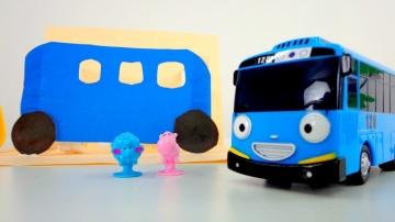 Поделки ОБЪЕМНАЯ аппликация. Тайо маленький автобус делаем помощника из бумаги. Оля канал Хэндики