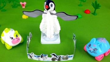 Видео для детей. Пингвин из кристаллов. Машинки Коровкин и Кошечка.